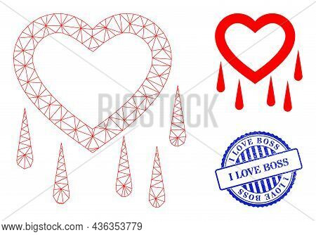 Web Mesh Crying Heart Vector Icon, And Blue Round I Love Boss Dirty Stamp Imitation. I Love Boss Imp