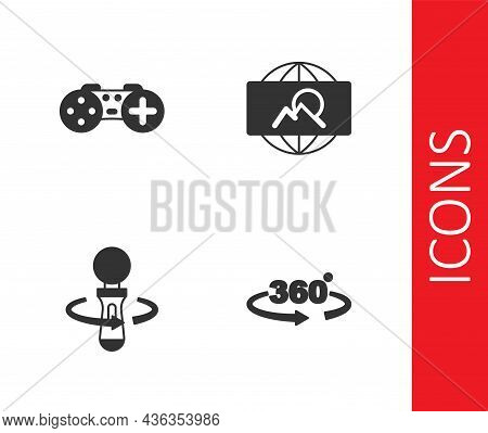 Set 360 Degree View, Gamepad, Vr Controller Game And Wide Angle Picture Icon. Vector