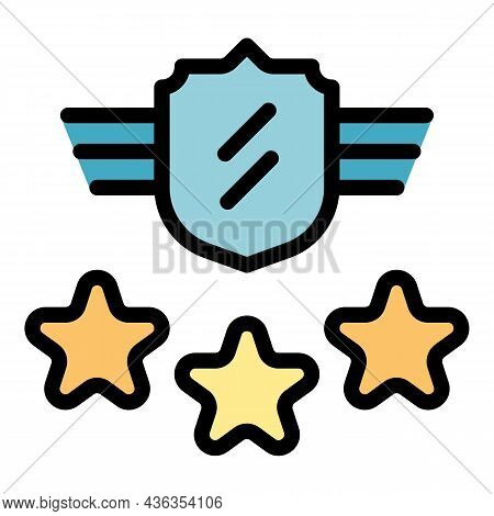 Vip Security Icon. Outline Vip Security Vector Icon Color Flat Isolated