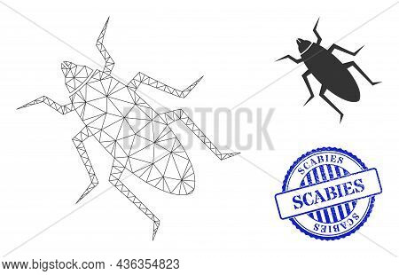 Web Network Bug Vector Icon, And Blue Round Scabies Rubber Stamp. Scabies Stamp Uses Round Form And