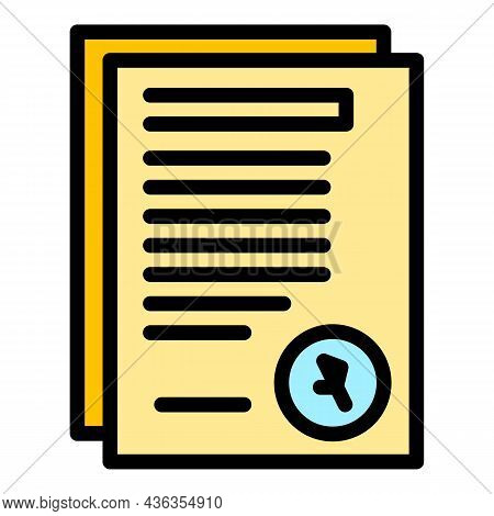 Assistance Documents Icon. Outline Assistance Documents Vector Icon Color Flat Isolated