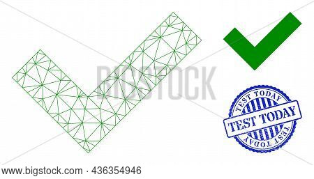 Web Network Okay Vector Icon, And Blue Round Test Today Dirty Watermark. Test Today Watermark Uses R