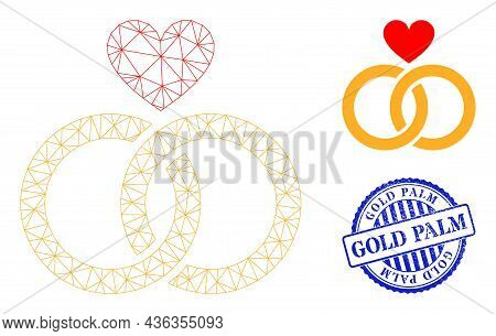 Web Carcass Romantic Rings Vector Icon, And Blue Round Gold Palm Scratched Stamp Seal. Gold Palm Sta