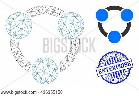 Web Net Collaboration Vector Icon, And Blue Round Enterprise Rough Stamp Print. Enterprise Stamp Sea
