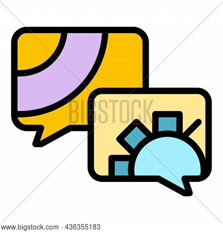 Support Chat Icon. Outline Support Chat Vector Icon Color Flat Isolated