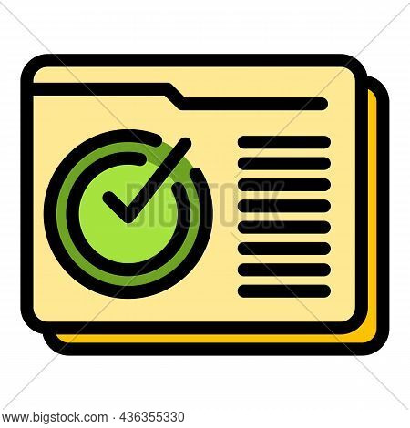 Assistance Done Icon. Outline Assistance Done Vector Icon Color Flat Isolated