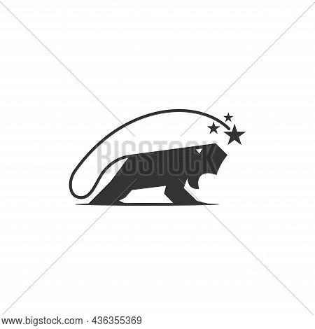 Lion Star Template Illustration Emblem Mascot Isolated