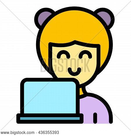 Customer Care Assistant Icon. Outline Customer Care Assistant Vector Icon Color Flat Isolated