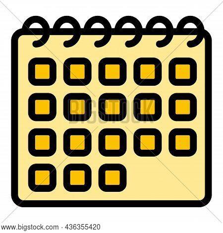 Schedule Calendar Assistance Icon. Outline Schedule Calendar Assistance Vector Icon Color Flat Isola