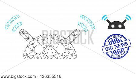 Web Network Robot Radio Signal Vector Icon, And Blue Round Big News Scratched Stamp Imitation. Big N
