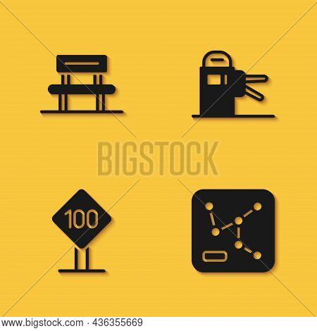 Set Waiting Hall, Railway Map, Speed Limit Traffic Sign 100 Km And Turnstile Icon With Long Shadow.