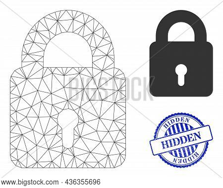 Web Carcass Lock Vector Icon, And Blue Round Hidden Rubber Stamp Imitation. Hidden Stamp Uses Round