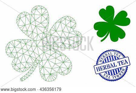 Web Mesh Lucky Clover Leaf Vector Icon, And Blue Round Herbal Tea Rough Stamp Seal. Herbal Tea Stamp