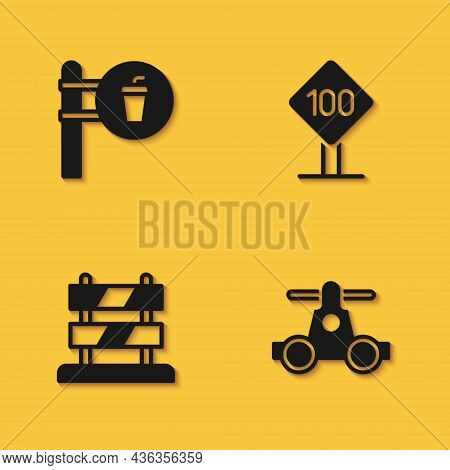 Set Cafe And Restaurant Location, Handcar Transportation, End Of Railway Tracks And Speed Limit Traf