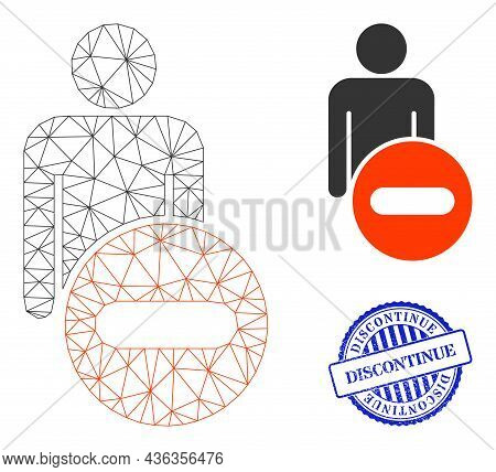 Web Net Remove Man Figure Vector Icon, And Blue Round Discontinue Rubber Print. Discontinue Seal Use