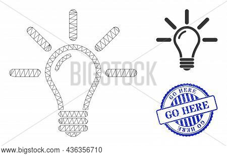 Web Mesh Light Bulb Vector Icon, And Blue Round Go Here Corroded Stamp. Go Here Watermark Uses Round