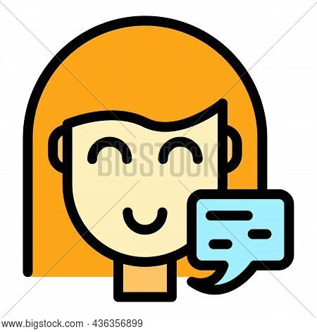 Client Contact Support Icon. Outline Client Contact Support Vector Icon Color Flat Isolated