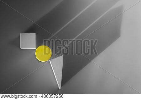 Stylish Modern Minimalistic Abstract Background With Geometric Shapes, Top View. Shapes Cast Shadow.