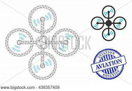 Web Carcass Air Copter Vector Icon, And Blue Round Aviation Corroded Stamp Seal. Aviation Imprint Us