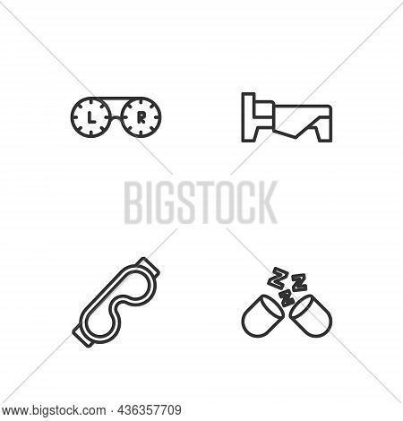Set Line Sleeping Pill, Eye Sleep Mask, Contact Lens Container And Bed Icon. Vector