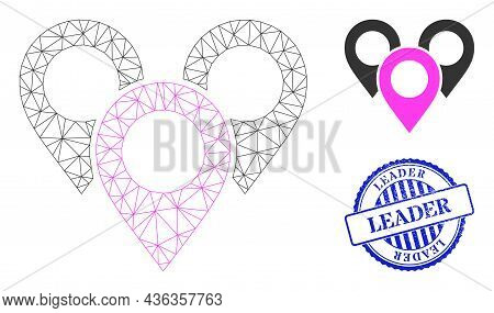 Web Mesh Map Marker Group Vector Icon, And Blue Round Leader Rubber Print. Leader Imprint Uses Round