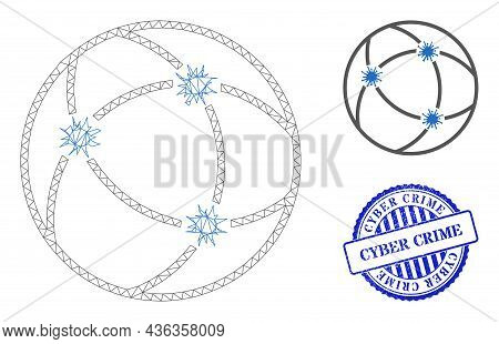 Web Net Virus Network Vector Icon, And Blue Round Cyber Crime Grunge Rubber Print. Cyber Crime Seal