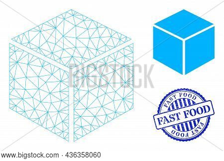 Web Carcass Sugar Cube Vector Icon, And Blue Round Fast Food Scratched Stamp Print. Fast Food Stamp