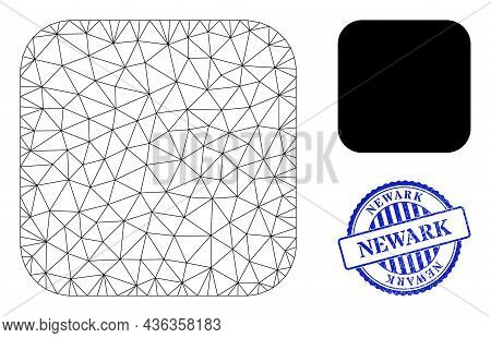 Web Net Rounded Square Vector Icon, And Blue Round Newark Unclean Stamp Print. Newark Stamp Uses Rou