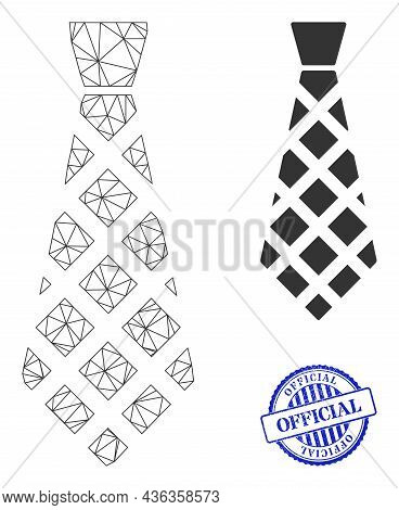 Web Carcass Checkered Tie Vector Icon, And Blue Round Official Dirty Badge. Official Imprint Uses Ro