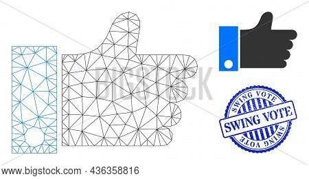 Web Carcass Thumb Up Vector Icon, And Blue Round Swing Vote Rubber Stamp Seal. Swing Vote Seal Uses