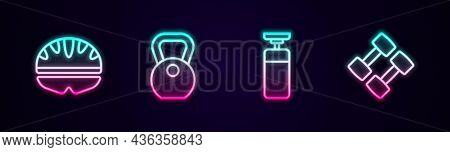 Set Line Bicycle Helmet, Weight, Punching Bag And Dumbbell. Glowing Neon Icon. Vector