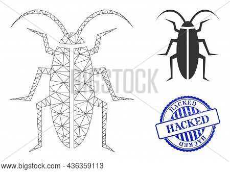 Web Carcass Cockroach Vector Icon, And Blue Round Hacked Grunge Stamp Imitation. Hacked Stamp Seal U