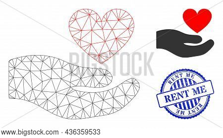 Web Mesh Palm Offer Love Heart Vector Icon, And Blue Round Rent Me Rough Rubber Print. Rent Me Water