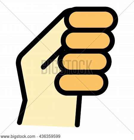 Hand Gesture Fist Icon. Outline Hand Gesture Fist Vector Icon Color Flat Isolated