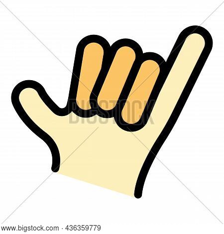 Hand Gesture Hang Loose Icon. Outline Hand Gesture Hang Loose Vector Icon Color Flat Isolated