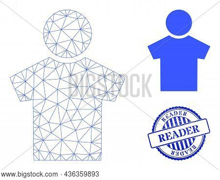 Web Carcass Boy Vector Icon, And Blue Round Reader Unclean Stamp Imitation. Reader Stamp Uses Round