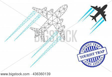Web Network Flying Airplane Trace Vector Icon, And Blue Round Tourist Trap Rough Stamp Seal. Tourist