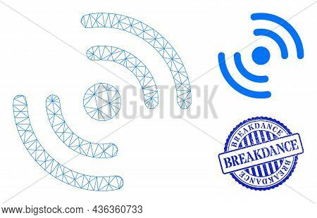 Web Mesh Air Cooler Rotation Vector Icon, And Blue Round Breakdance Dirty Stamp Print. Breakdance Se