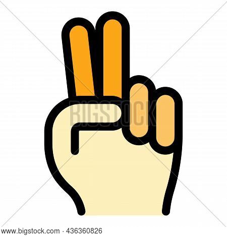 Hand Gesture Two Minutes Icon. Outline Hand Gesture Two Minutes Vector Icon Color Flat Isolated