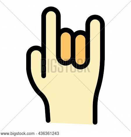 Hand Gestures Rock U Icon. Outline Hand Gestures Rock U Vector Icon Color Flat Isolated