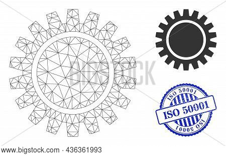 Web Network Cogwheel Vector Icon, And Blue Round Iso 50001 Grunge Stamp Seal. Iso 50001 Seal Uses Ro
