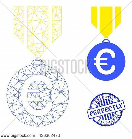 Web Mesh Euro Medal Vector Icon, And Blue Round Perfectly Rubber Stamp Imitation. Perfectly Stamp Se