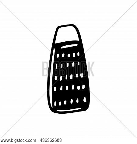 Black And White Isolated Illustration Of A Grater, Kitchen Ware, Utensils. Doodle Vector Design For