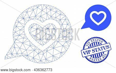 Web Carcass Favourite Heart Message Vector Icon, And Blue Round Vip Status Dirty Seal. Vip Status St