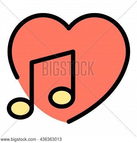 Like Music Interface Icon. Outline Like Music Interface Vector Icon Color Flat Isolated