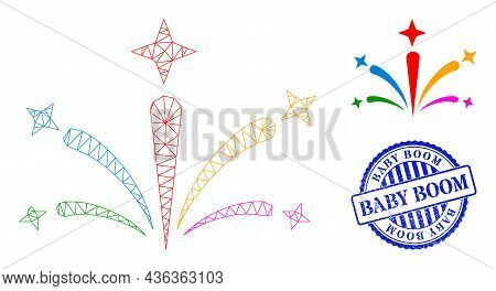 Web Carcass Salute Fireworks Vector Icon, And Blue Round Baby Boom Textured Seal. Baby Boom Stamp Se