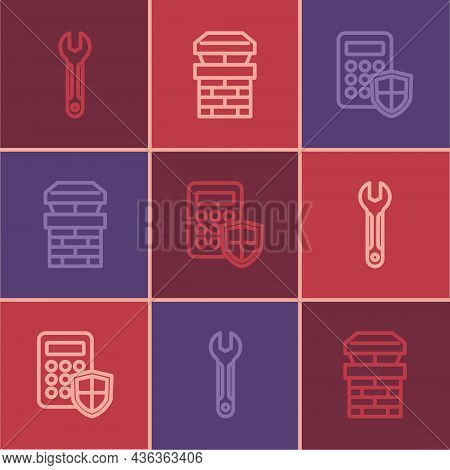 Set Line Wrench Spanner, Security Keypad Access Panel And Chimney Icon. Vector