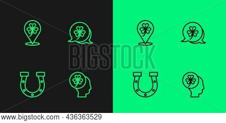 Set Line Head With Clover Trefoil Leaf, Horseshoe, Clover And Icon. Vector
