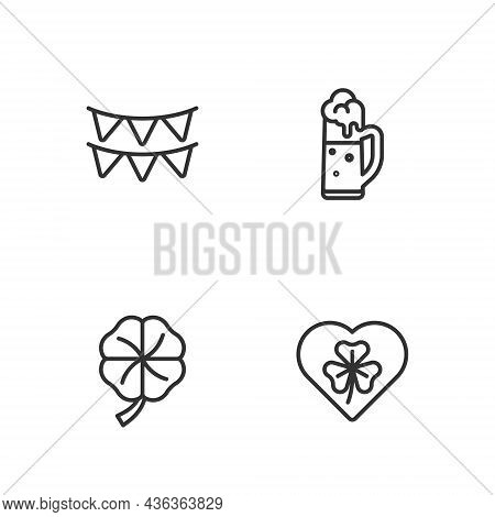 Set Line Heart With Clover Trefoil Leaf, Four, Carnival Garland Flags And Glass Of Beer Icon. Vector