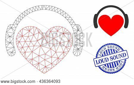 Web Carcass Love Heart Headphones Vector Icon, And Blue Round Loud Sound Grunge Seal. Loud Sound Sta